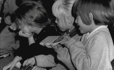 Young Jessica Simpson, at the age of 5, is holding a calculator as she learns math's in class.
