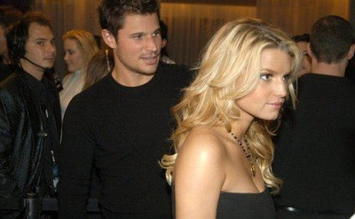 Jessica Simpson and Nick Lachey are attending a nighttime event at the Mondrian Hotel in Los Angeles.