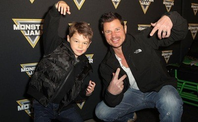 Nick Lachey and his son Camden are arriving at the Monster Jam Celebrity Event, circa 2018.