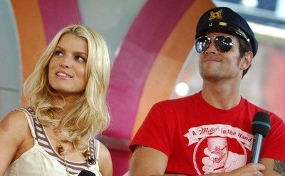 Jessica Simpson and Johnny Knoxville, as they are being interviewed on the set of MTV's 'TRL'.