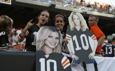 Cleveland Browns fans are displaying cardboard images of Jessica Simpson